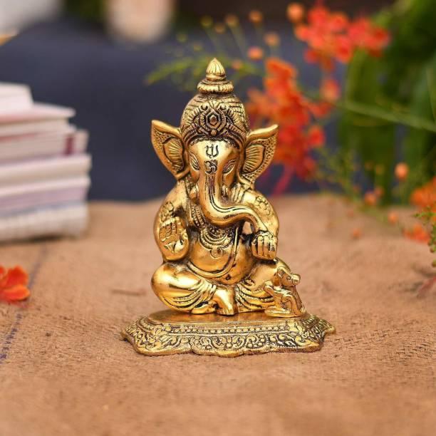 Collectible India Gold Plated Ganesha Idol Car Dashboard Statue Decorative Showpiece  -  16.51 cm