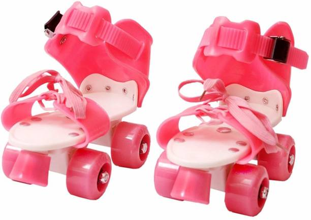 SIDOE Adjustable Multi Color Quad Shoe Roller Skates for Boys and Girls, Inline Skating Shoes Suitable for Age Group 5 to 12 Years (Red) Quad Roller Skates - Size 4-7 US