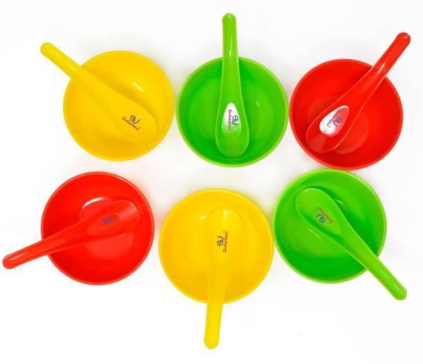 Sarthak Uphaar Plastic Microwave Safe Soup Bowl Set of 12 Pieces (6 Bowl, 6 Spoon) Plastic Soup Bowl