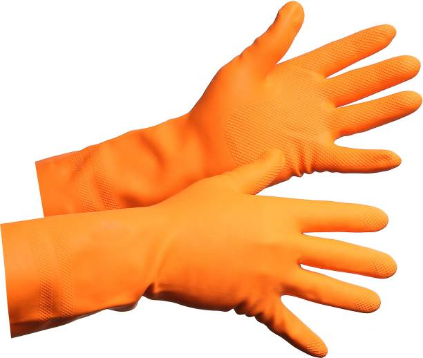 Green Home Reusable Latex Hand Gloves For Kitchen Orange (1 Pair) Wet and Dry Glove
