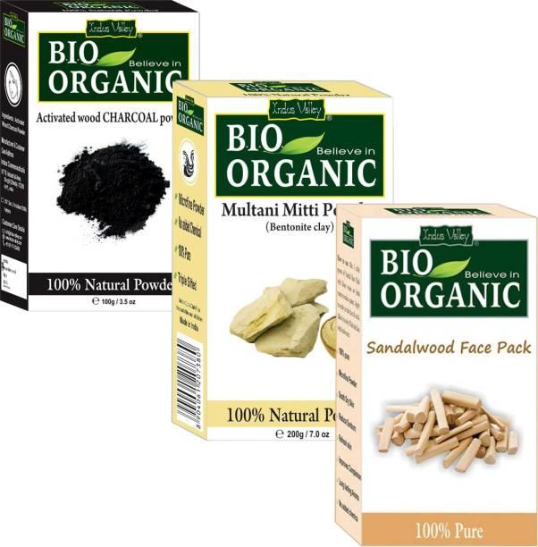 Indus Valley Bio Organic Multani Mitti + Sandalwood Powder + Activated Charcoal Powder Set of 3