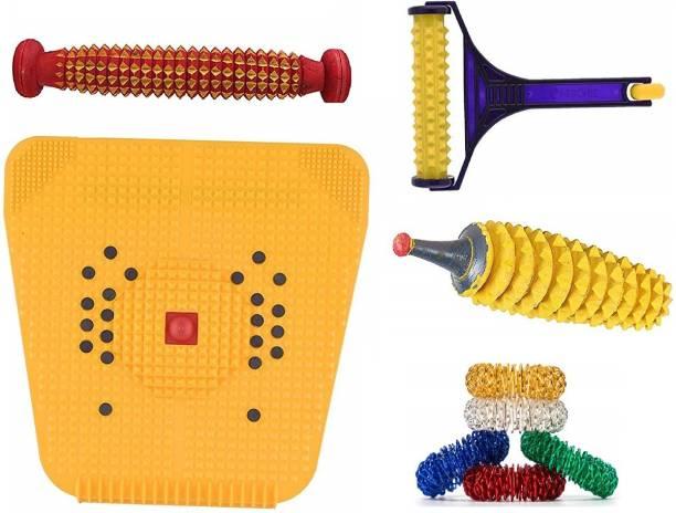AHCS Accupressure Mat Foot Massager Wooden Foot Roller Kit Acupressure Magnetic Stress Mat Combo Kit (2000 Mat Kit) Massager
