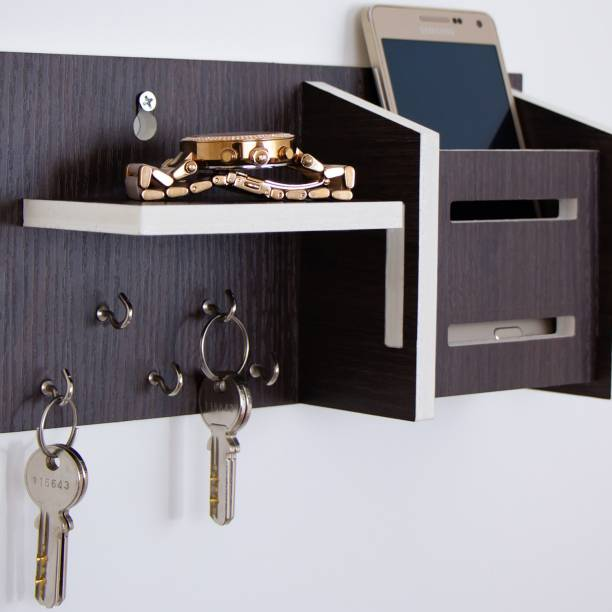 WORA Multipurpose Key Holders and Storage Racks Particle Board Wall Shelf