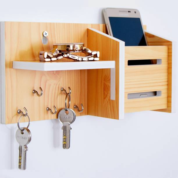 WORA Multipurpose Key Holders and Storage Racks Particle Board Wall Shelf
