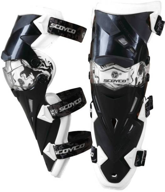 SCOYCO K12-2 Adjustable Knee and Shin Guards Protection Guard with Pads Flexible Breathable High-Impact Knee Pads for Motorcycle/Bike Knee Guard Free Black, White