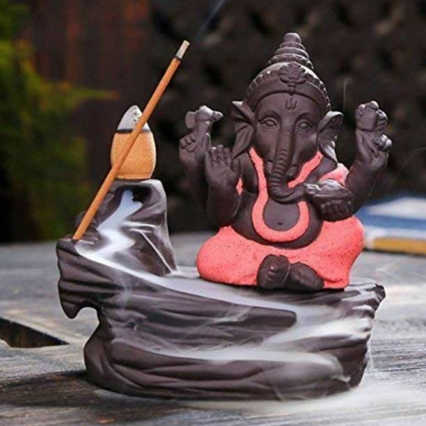 Craft Junction Handcrafted Lord Ganesha Smoke Backflow Cone Incense Holder With 10 Incense Cones Decorative Showpiece  -  9.5 cm
