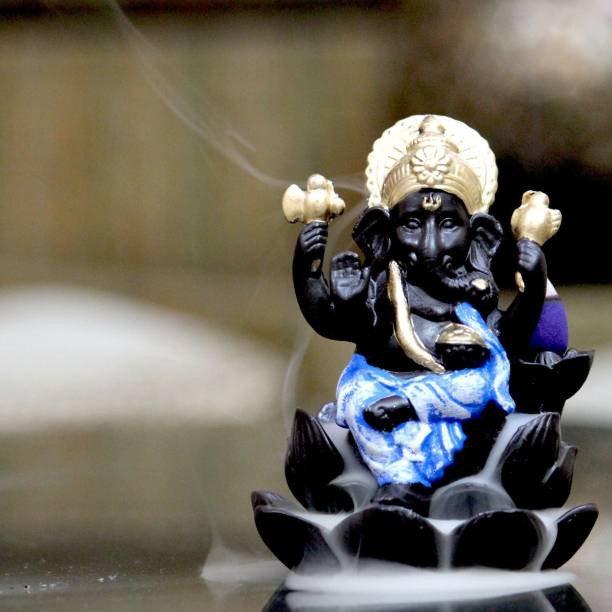 Craft Junction Handcrafted Lord Ganesha on Lotus Smoke Backflow Cone Incense Holder With 10 Incense Cones Decorative Showpiece  -  11 cm