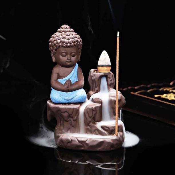 Craft Junction Handcrafted Meditating Little baby Monk Buddha Smoke Backflow Cone Incense Holder Decorative Showpiece  -  12 cm