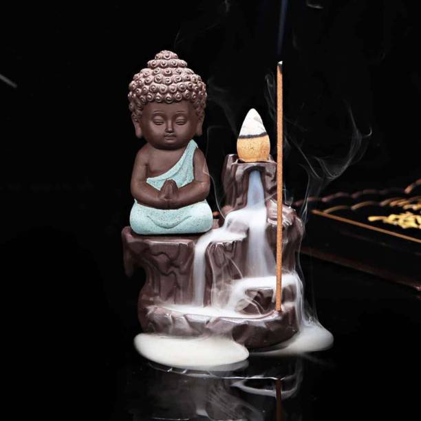 Craft Junction Handcrafted Meditating Little baby Monk Buddha Smoke Backflow Cone Incense Holder With 10 Sticks Decorative Showpiece  -  12 cm