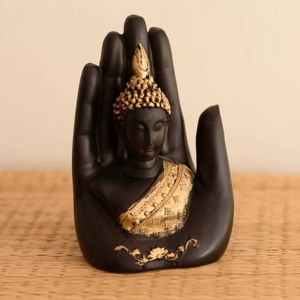 eCraftIndia Golden Handcrafted Buddha Palm Decorative Showpiece  -  18 cm