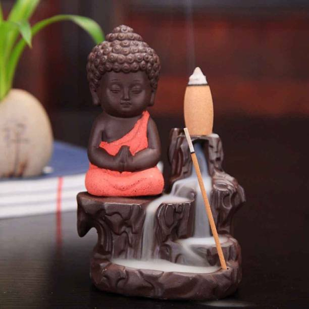 Craft Junction Handcrafted Meditating Little baby Monk Buddha Smoke Backflow Cone Incense Holder With 10 Incense Cones Decorative Showpiece  -  12 cm