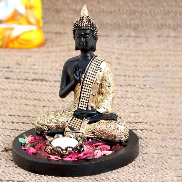 Craft Junction Meditating Lord Buddha Statue With Tealight Holder Wooden Base Decorative Showpiece  -  22 cm