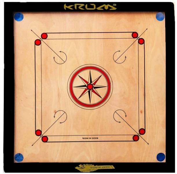 KRUM Small Size Round Pocket Carrom Board with Coins, Striker, and Powder 50.8 cm Carrom Board