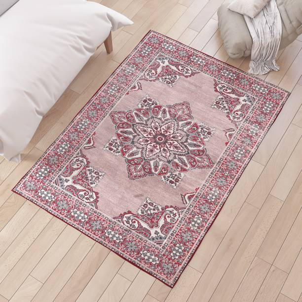 Flipkart Perfect Homes Red Polyester Area Rug
