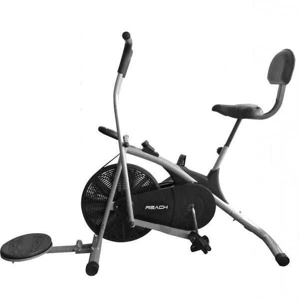 Reach AB-100 Fitness Air Bike Exercise Cycle | Twister Back Support Seat & Moving Handle Dual-Action Stationary Exercise Bike