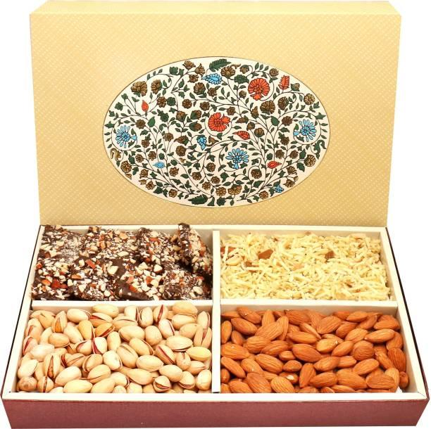 Ghasitaram Gifts Eco 4 Part Print Hamper box with dry fruit Namkeen and Chocolates Combo