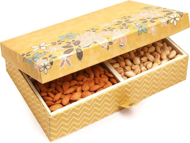 Ghasitaram Gifts Gold 4 Print Hamper box with dry fruit and Brittles Chocolates Combo