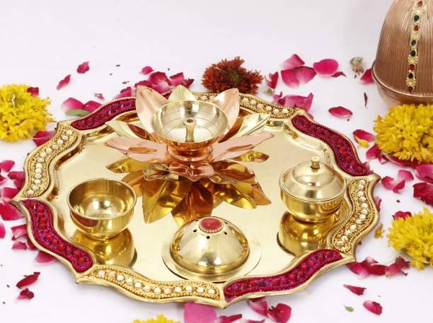 Flipkart SmartBuy Designer Brass Pooja Aarti Thali, Poojan,Spiritual Gfit Item, 10'' Inch Brass