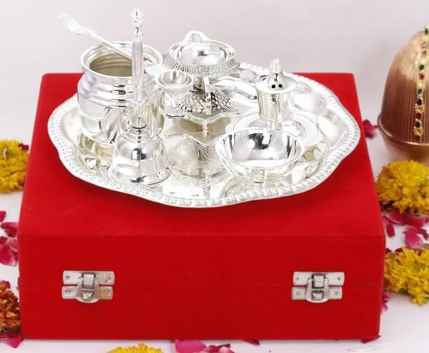 Flipkart SmartBuy Silver Plated Om Design Pooja Arti Thali Silver Plated