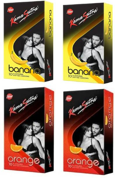 Kamasutra 2 Banana and 2 Oarnge Flavoured Dotted Condom 10PCS Each (Pack of 4) Condom