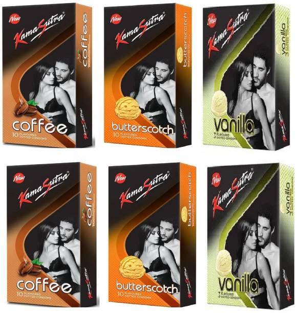 Kamasutra 2 Coffee Cappuccino, 2 Butterscotch and 2 Vanilla Flavoured Dotted Condom Condom