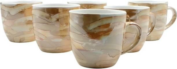 FARKRAFT Pack of 6 Ceramic Ceramic Golden Brown Gloss Finish Tea And Coffee Cups