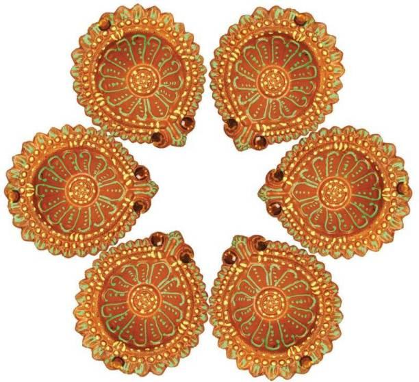 StyBuzz Terracotta (Pack of 6) Table Diya Set