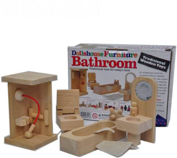 CrazyCrafts Wooden Bathroom Dollhouse Furniture Set for Girls