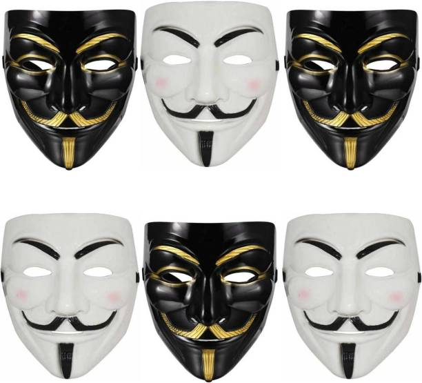 Style Mania 3 Black & 3 White Vendetta Character Mask (Pack of 6) Party Mask
