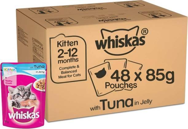 Whiskas Whiskas Super Saver Pack, Kitten Wet Cat Food (2-12 months), Tuna in Jelly 4.08 kg (85g x 48 Pouches) Tuna 4.08 kg (48x0.09 kg) Wet New Born Cat Food