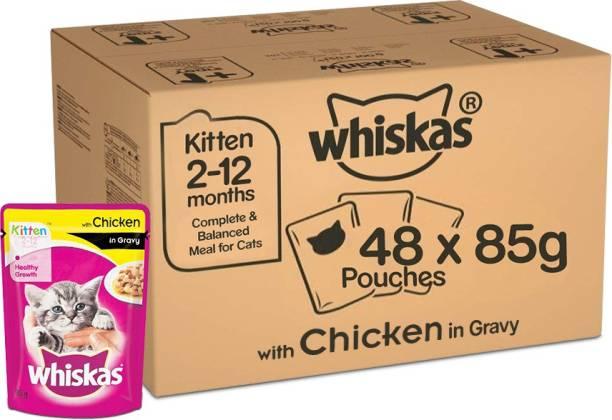 Whiskas Whiskas Super Saver Pack, Kitten Wet Cat Food (2-12 months), Chicken in Gravy 4.08 kg (85g x 48 Pouches) Chicken 4.08 kg (48x0.09 kg) Wet New Born Cat Food