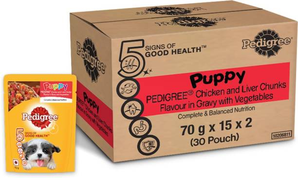PEDIGREE Puppy , Chicken And Liver Chunks Flavour in Gravy with Vegetables, Chicken 2.1 kg (30x0.07 kg) Wet Young Dog Food