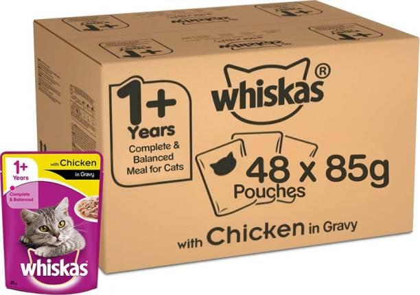 Whiskas Whiskas Super Saver Pack, Adult Wet Cat Food (+1 Year) Chicken in Gravy 4.08 kg (85g x 48 Pouches) Chicken 4.08 kg (48x0.09 kg) Wet Adult Cat Food