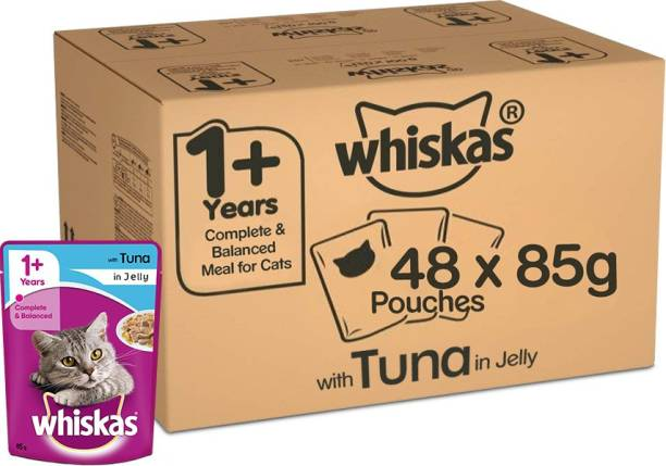 Whiskas Whiskas Super Saver Pack, Adult Wet Cat Food (+1 Year) Tuna in Jelly 4.08 kg (85g x 48 Pouches) Tuna 4.08 kg (48x0.09 kg) Wet Adult Cat Food
