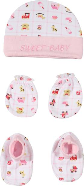First Trend Baby Mittens,Bootie,Cap Combo Set For 0-6 Months (PINK)