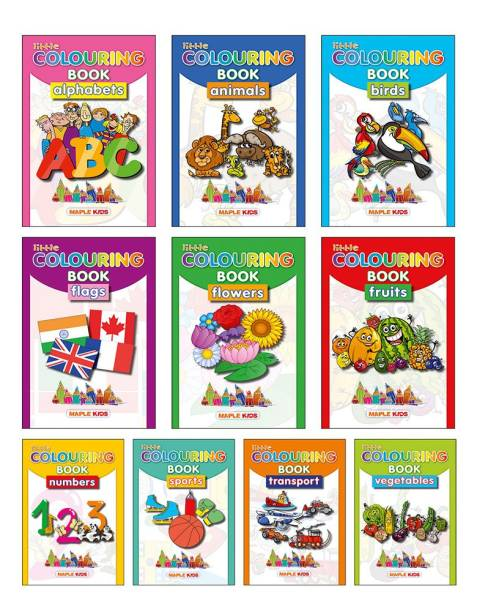 Little Colouring (Set of 10 Books) - Vegetables, Transport, Flowers, Fruits, Birds, Alphabets, Animals, Numbers, Sports, Flags
