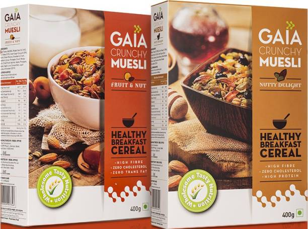 GAIA Muesli Combo Pack 400 gm + 400 gm Fruit and Nut and Nutty Delight