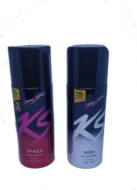 KS RUSH & SPARK Deodorant Spray - For Men (300 ml, Pack of 2) Body Spray  -  For Men & Women