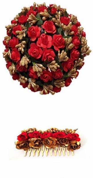 Three Elements Artificial Flower Bridal Gajra Juda Hair Accessories Bun