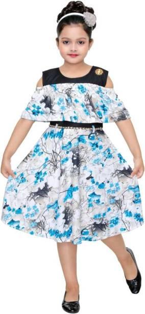 HUANG Girls Below Knee Party Dress