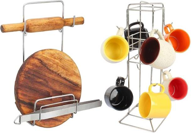 OC9 Chakla Belan Stand & Cup Holder / Cup Stand Cup Kitchen Rack