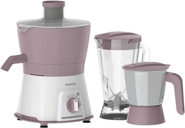 PHILIPS Viva Collection HL7578/00 600 W Juicer Mixer Grinder (3 Jars, Pink, White)