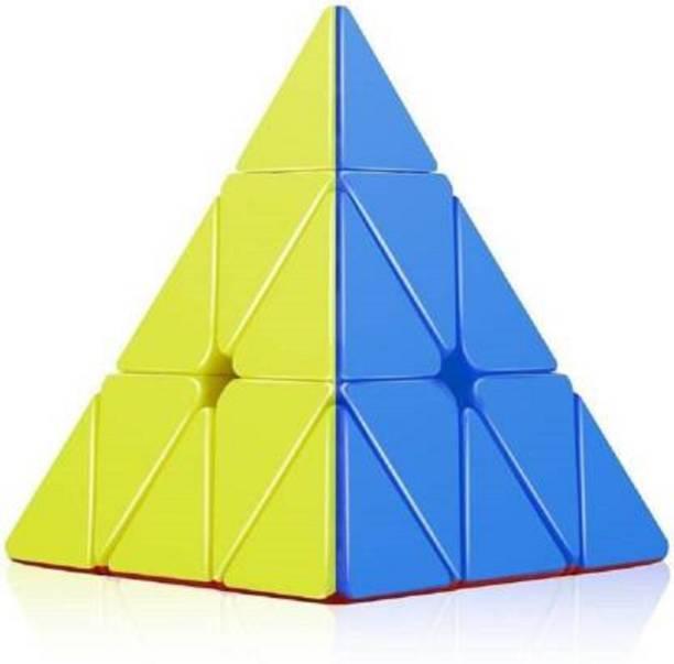 AR KIDS TOYS AR Enterprises Super Smooth Sticker less Pyramid Speed Triangle Cube Magic Cube