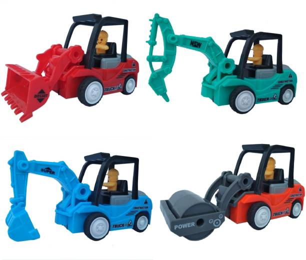 HALO NATION Construction Toys Set of 4 - Road Roller , Driller, JCB & Excavator - Inertia Powered Friction Vehicles