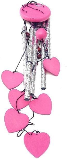 shanol d pinkHeart Shape Wind Chime for home decoraton Aluminium Windchime(25 inch, pink) pink heart wind chime for home decoration love heart wind chime. 5 aluminium pipe and 6 beautifull pink heart hangging around the pipes love wind chime. (length :- 25 inch ) aluminium and plastic pink heart wind chime for home decoration also a piecefull sound wind chime wind chimes for home positive energy Good Luck Balcony Good Sound Outdoor Feng Shui Bedroom Aluminium, Plastic Windchime