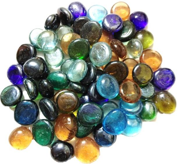 DS Creations Decorative multicolored round glass stone, approx 65 pieces Gravel Unplanted Substrate