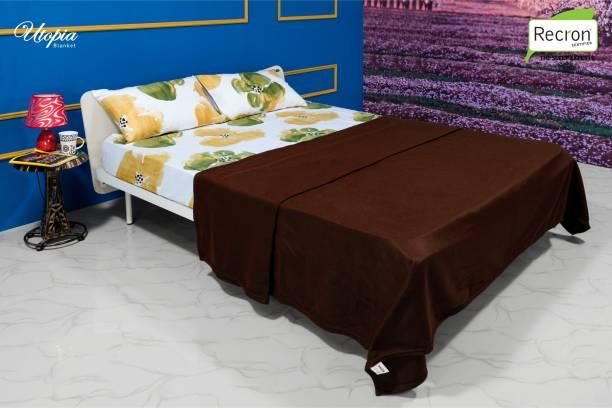 RECRON CERTIFIED Solid Single Fleece Blanket