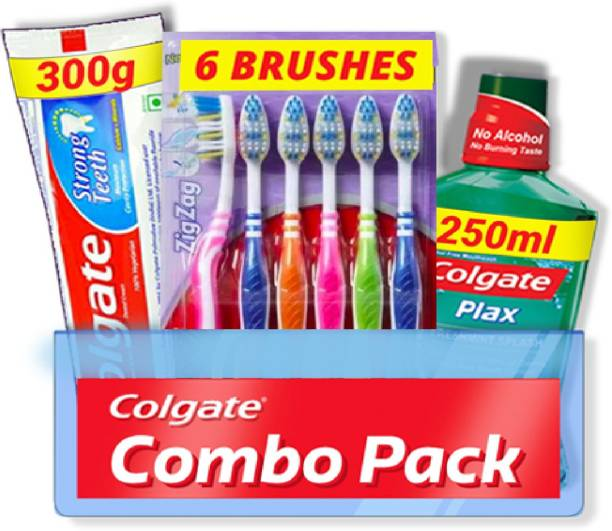 Colgate Strong Teeth Combo 6 Brushes, Mouthwash, Toothpaste