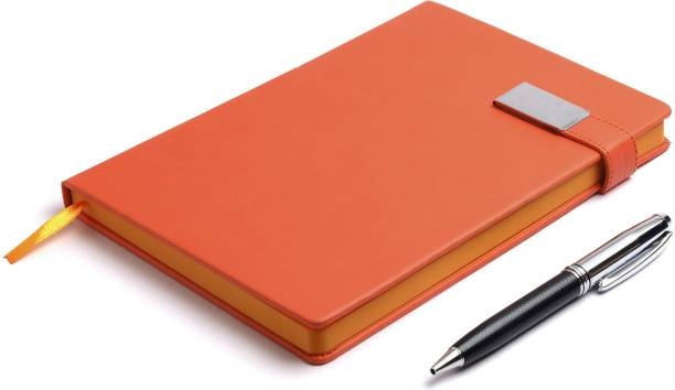 COI DIARY ORANGE UNDATED NOTEBOOK- Elegant Faux Leather A5 To Do List Planner to Nourish your daily appointment with Stylish Magnetic Lock and Pen. A5 Note Pad Ruled 180 Pages