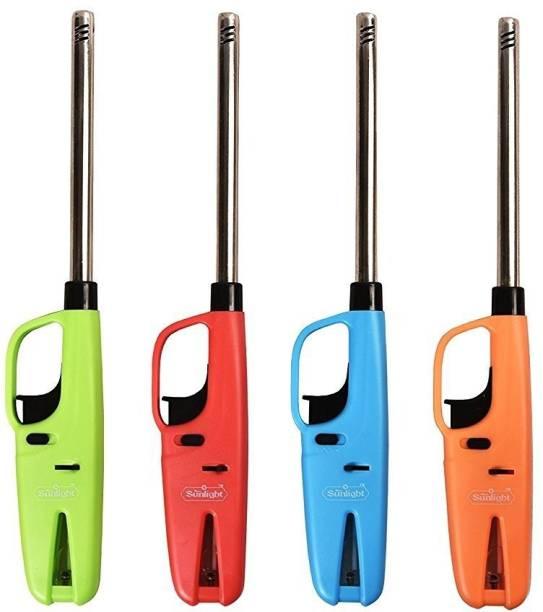 OSIOUS Gas Lighter Plastic Gas Lighter (Multicolor, Pack of 4) Plastic, Steel Gas Lighter